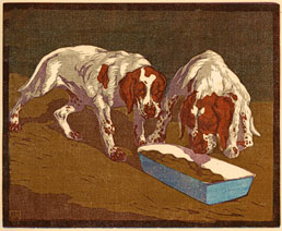 WALTHER KLEMM, Karlovy, Bohemia 1883 – 1957 Weimar. Junge Hunde (Young Hounds). Original colour woodcut, 1907. This woodcut is for sale, priced £250