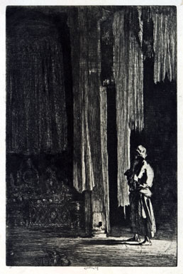 ERNEST STEPHEN LUMSDEN, London 1883 – 1948 Edinburgh. The Acolyte. Original drypoint and etching, 1920. This print is for sale, priced £200