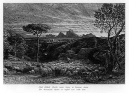 SAMUEL PALMER, London 1805 – 1881 Redhill. Opening the Fold. Etching, 1880. This etching is for sale, priced £1500
