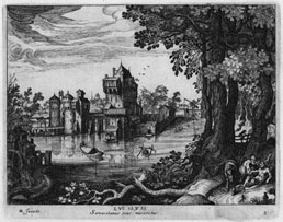 SIMON WYNOUTS FRISIUS (Simon de Vries), c1580 Harlingen – 1628 The Hague. Landscapes with The Story of the Good Samaritan. The set of four engravings, c1600-1620. These engravings are for sale, priced £2000