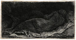 REMBRANDT HARMENSZ VAN RIJN, Leyden 1606 – 1669 Amsterdam. Reclining Nude sleeping. Original etching, 1658. This print is for sale, priced £3500