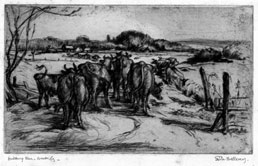 GRETA DELLEANY A.R.E., London 1884 – 1968 Cheltenham. Milking Time, Amberley. Original drypoint. This drypoint is for sale, priced £200