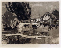 ELIAB GEORGE EARTHROWL A.R.E., London 1878 – 1967. Mildenhall. Original aquatint, 1924. This aquatint is for sale, priced £150