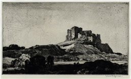 LEONARD R. SQUIRRELL R.E., R.W.S., Ipswich 1893 – 1979 Suffolk. Bamburgh Castle. Original drypoint, 1932. This print is for sale, priced £200