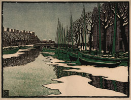 CARL THIEMANN, Karlsbad 1881 – 1966 Herbertshausen. Winter in Amsterdam. Original colour woodcut, 1910. This print has been sold