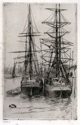 JAMES McNEILL WHISTLER R.A., Lowell, Massachusetts 1834 – 1903 London. The Two Ships. Original etching, 1875. This print is for sale, priced £12000