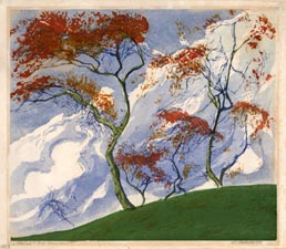 HELENE LADSTÄTTER, Died Vienna 1970. Herbst, Autumn. Original colour woodcut.  This print is for sale, priced at £350