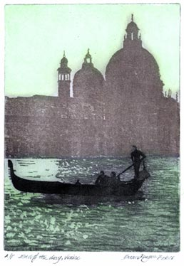 BRIAN DENYER-BAKER,  Born Storrington, Sussex 1940. End of the Day, Venice. Original colour aquatint. This print is for sale, priced £185