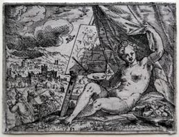 HANS STROHMEYER, fl 1583-1610. An Allegory of Painting. Original etching, 1593. This print is for sale, priced £850