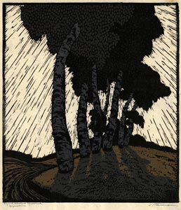 CARL THIEMANN, Karlsbad 1881 – 1966 Herbertshausen. Gegensonne - Against the Light. Original colour woodcut, 1920. This print is for sale, priced £750