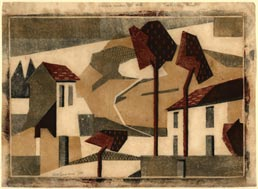 EDITH LAWRENCE, Walton on Thames 1890 – 1973 Salisbury. Houses under the Hill. Original colour linocut, c1929-30. This print is for sale, priced £7500