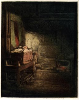 MORTIMER MENPES, Port Adelaide, Australia 1855 – 1938 Pangbourne. Breton Interior, Pont Aven. Etching, 1915-16. This print is for sale, priced £450