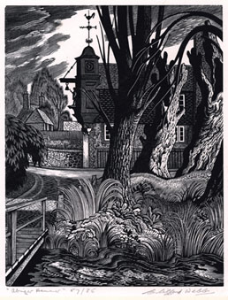 CLIFFORD WEBB S.W.E., R.E., London 1895 – 1972 Abinger Hammer? Abinger Hammer. Original wood-engraving, c1935. This print is for sale.
