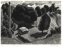GUY MALET S.W.E. Southsea 1900 – 1973 Dichling. In the Chilterns. Original wood engraving, c1939.