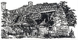 ROBERT BALL R.E., Birmingham 1918 – 2008 Gloucestershire. The Ruins by Frank Mansell. Original wood engraving, 1973.  This original print is for sale.