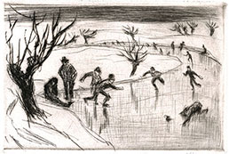 WALTHER KLEMM, Karlovy, Bohemia 1883 – 1957 Weimar. Skaters. Original drypoint, 1910. This original print is for sale.