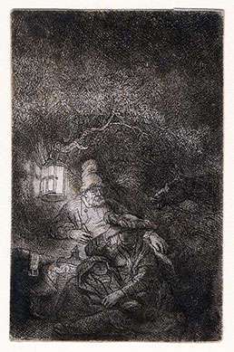 REMBRANDT VAN RIJN, Leiden 1606 – 1669 Amsterdam. The Rest on the Flight into Egypt. Original etching, c1644.This original print is for sale.