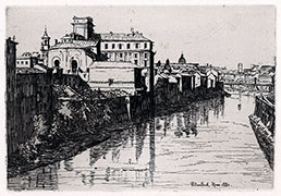 WILLIAM SCOTT R.E., 1848 – 1914. Rome from the Ponte Sisto. Original etching, 1880. This original print is for sale.