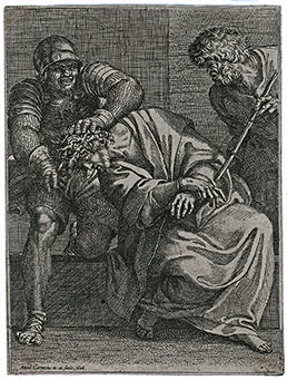 ANNIBALE CARRACCI, Bologna 1560 – 1609 Rome. Christ crowned with Thorns. Original etching, 1606. This print is for sale.